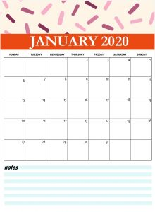 Cute January 2020 Printable Calendar