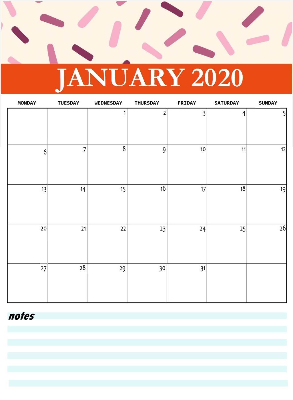 Cute January 2020 Printable Calendar