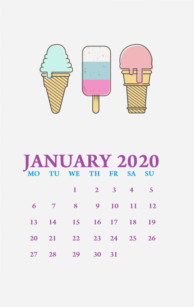 Cute January 2020 iPhone Wallpaper