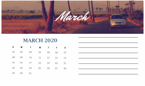 Cute March 2020 Calendar With Photo