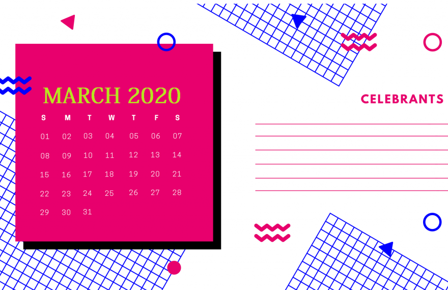 Cute March 2020 Printable Calendar