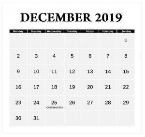 December 2019 Blank Planner Template