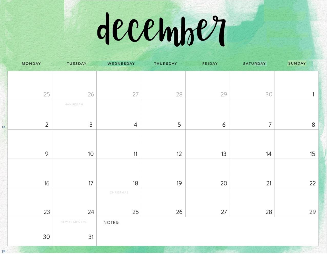 December 2019 Calendar Edit Online