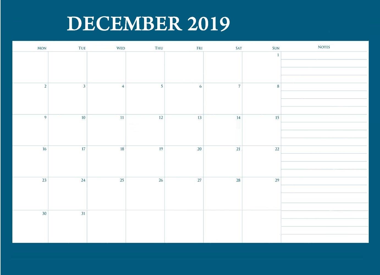 December 2019 Desk Calendar With Notes