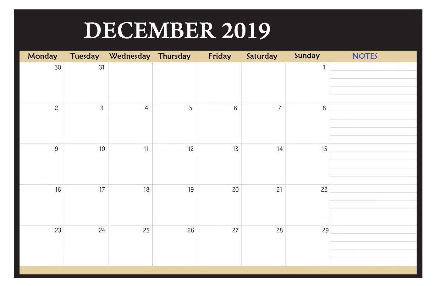 December 2019 Desk Template