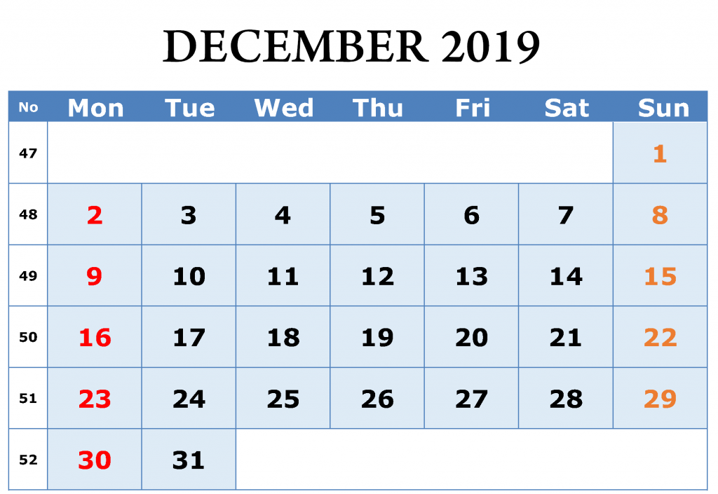 December 2019 Editable Calendar Template