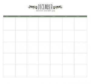 December 2019 Editable Monthly Planner