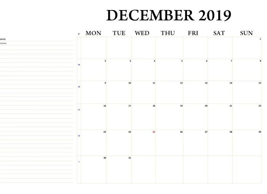 December 2019 Editable Template
