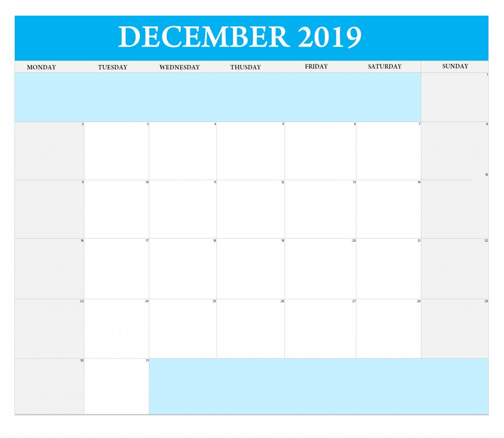 December 2019 Excel Blank Calendar