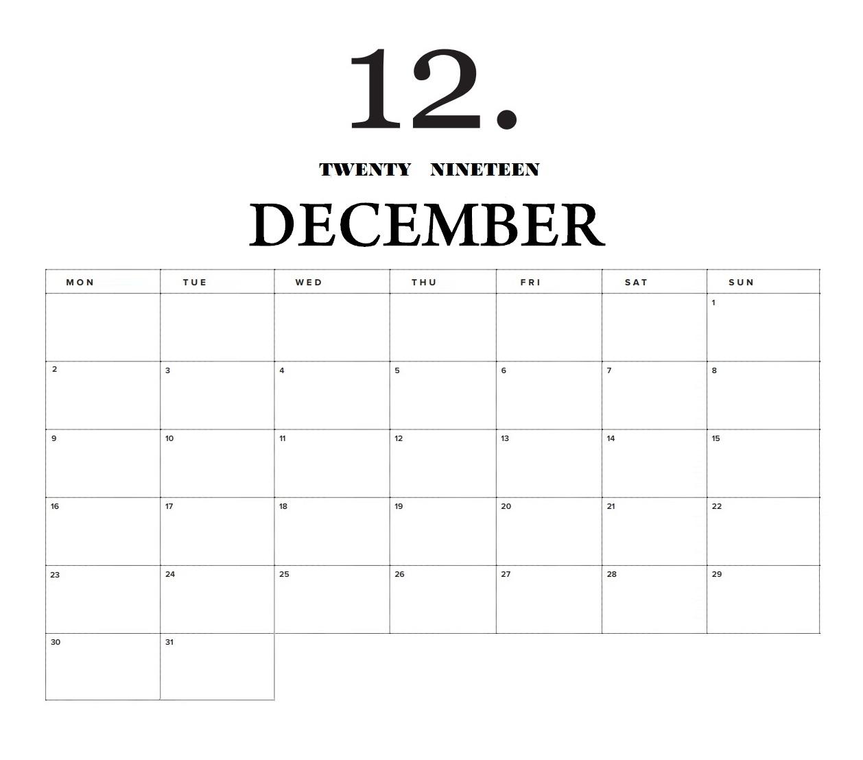 December 2019 Home Wall Calendar