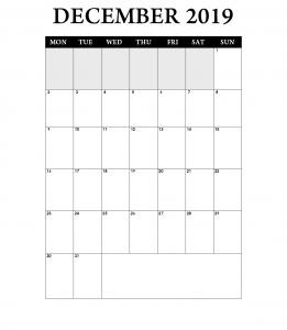 December 2019 Monthly Planner