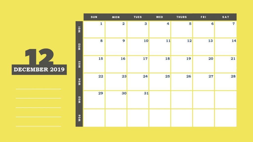 December 2019 Office Table Calendar