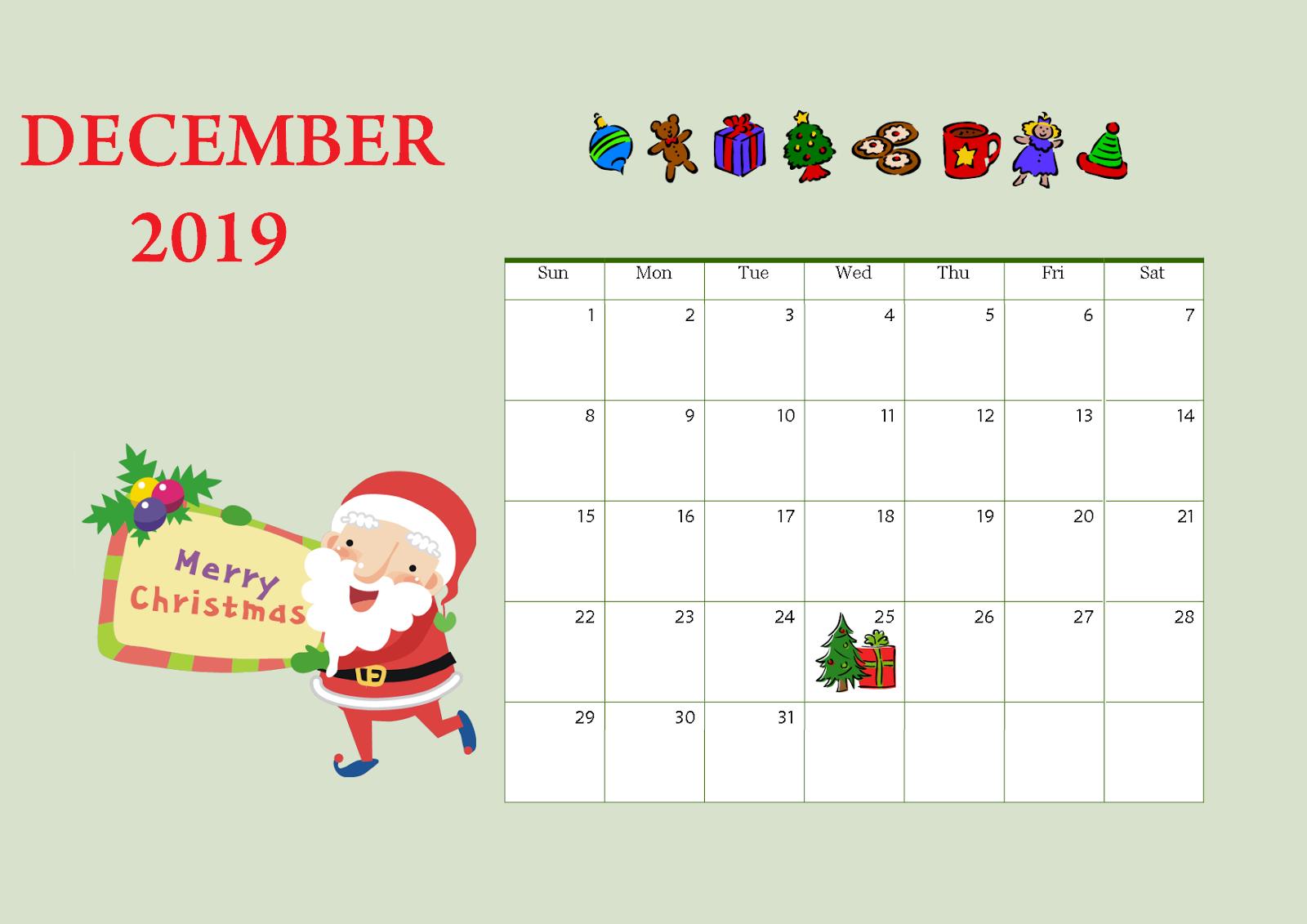 December 2019 Printable Wall Calendar