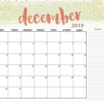 December 2019 Table Calendar
