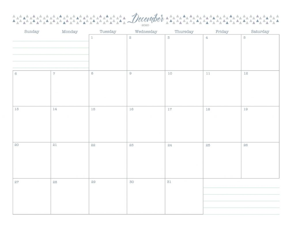 December 2020 Blank Calendar Template