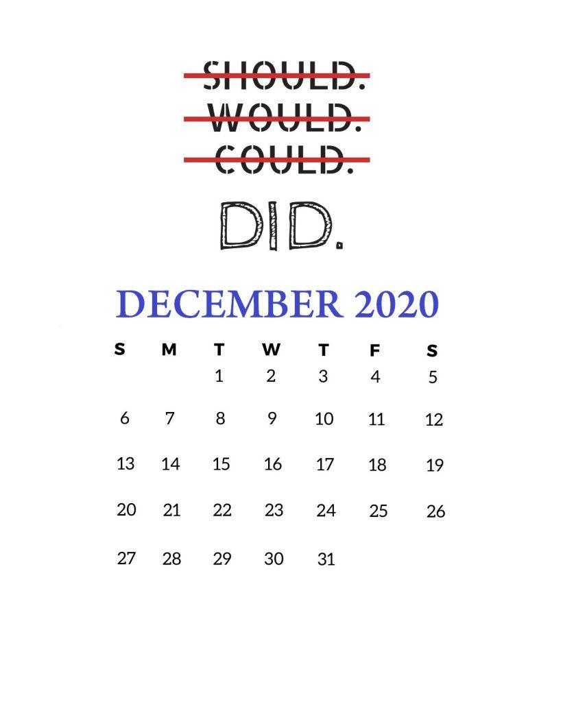 December 2020 Motivational Calendar
