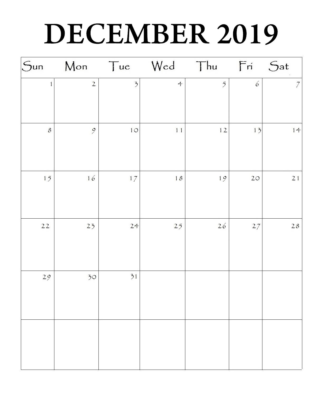 Download December 2019 Blank Calendar