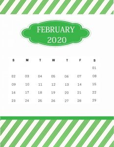 Download February 2020 Wall Calendar