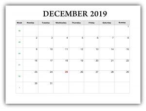 Editable December 2019 Blank Calendar