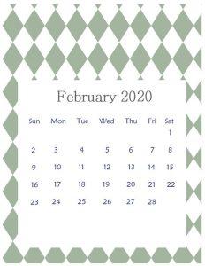 Editable February 2020 Office Table Calendar