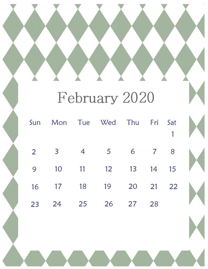 Editable February 2020 Office Table Calendar