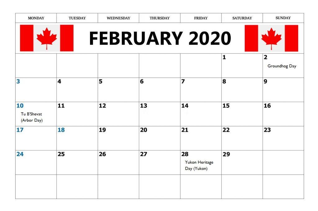 February 2020 Calendar With Canada Holidays