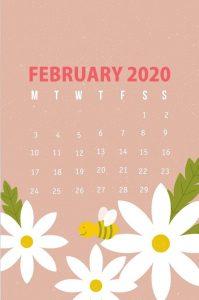 February 2020 Calendar iPhone Background