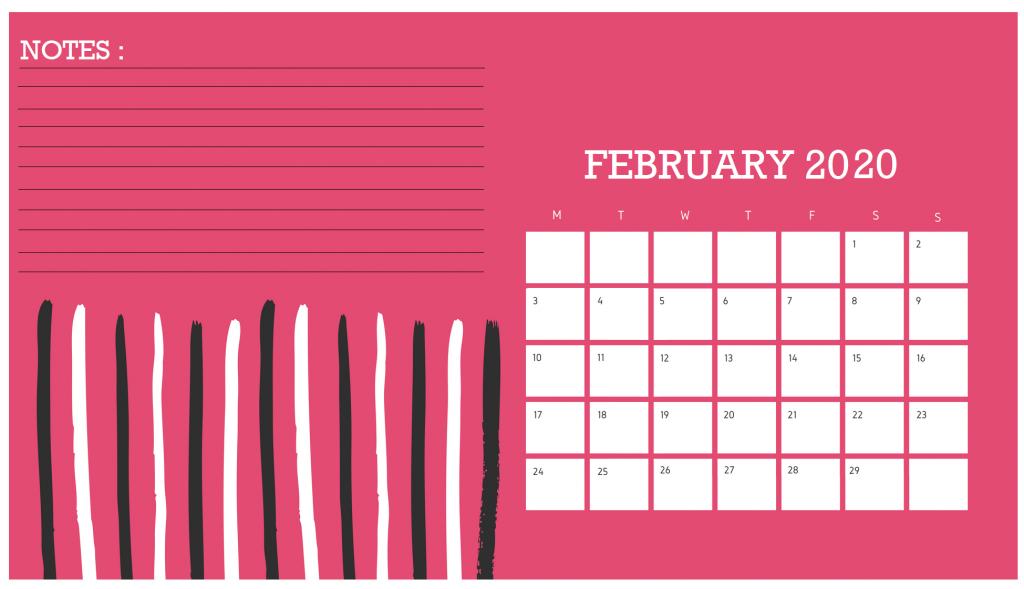 February 2020 Desk Calendar Template