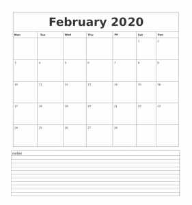 February 2020 Desk Calendar with Notes