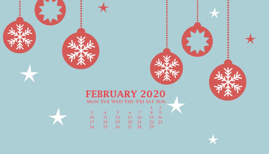 February 2020 Desktop Screensaver Calendar