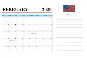 February 2020 Holidays Calendar Template