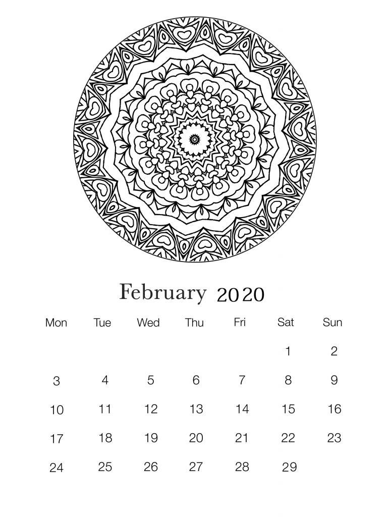 February 2020 Printable Wall Calendar