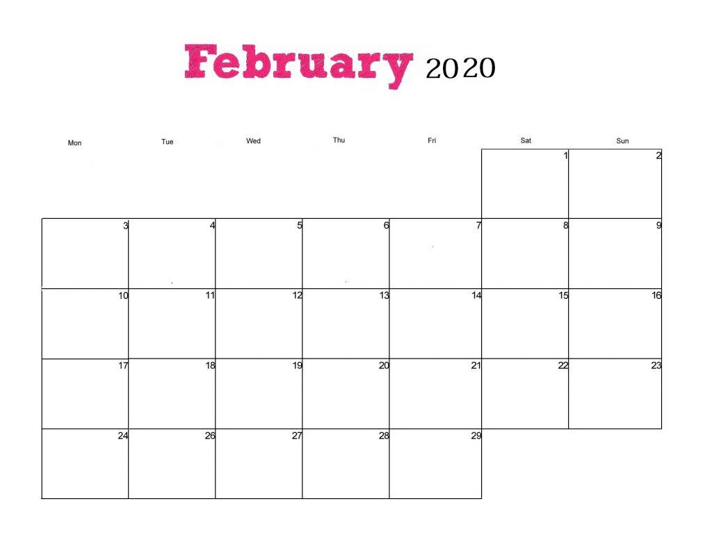 February 2020 Wall Calendar Template