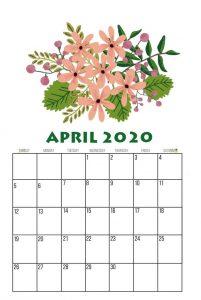 Floral April 2020 Calendar Template
