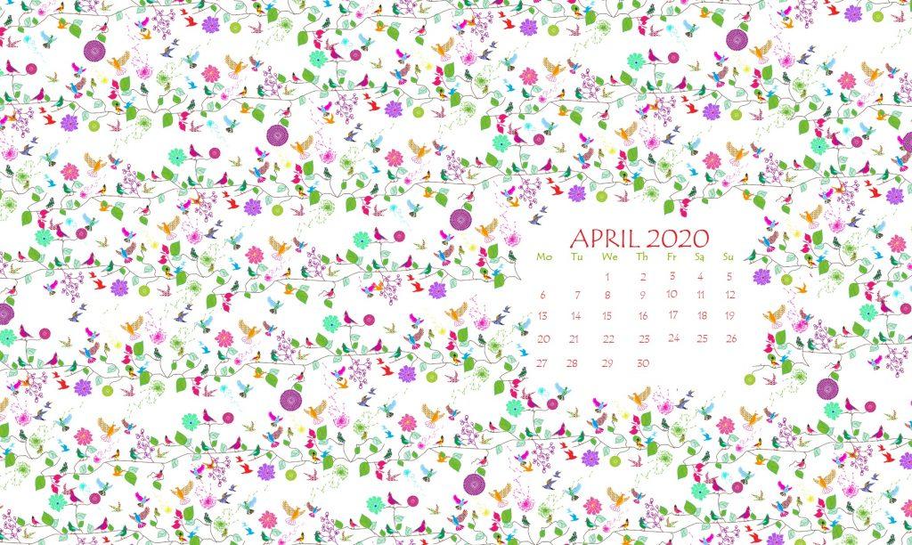 Floral April 2020 Calendar Wallpaper