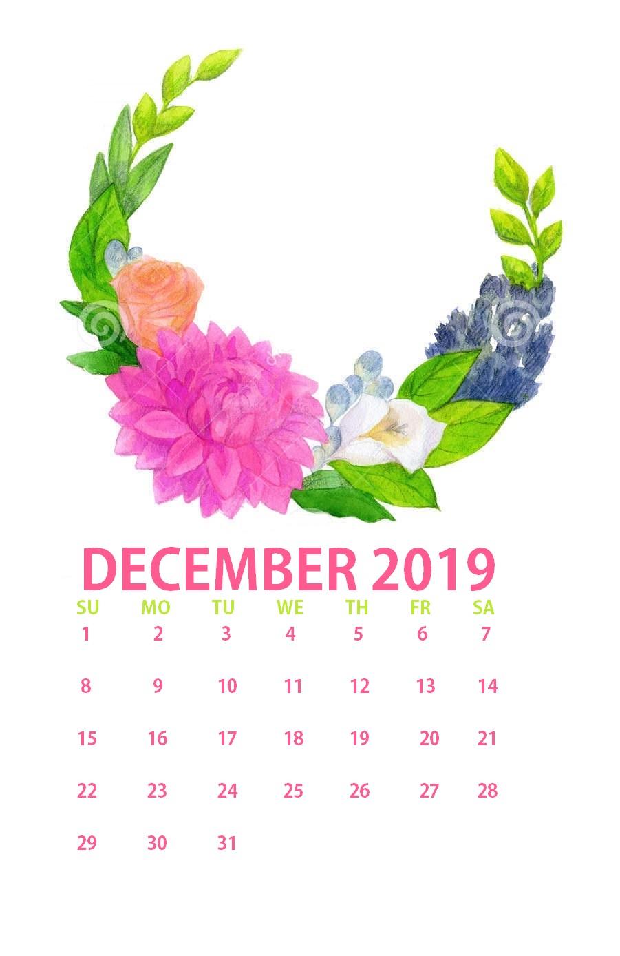 Floral December 2019 Calendar Download