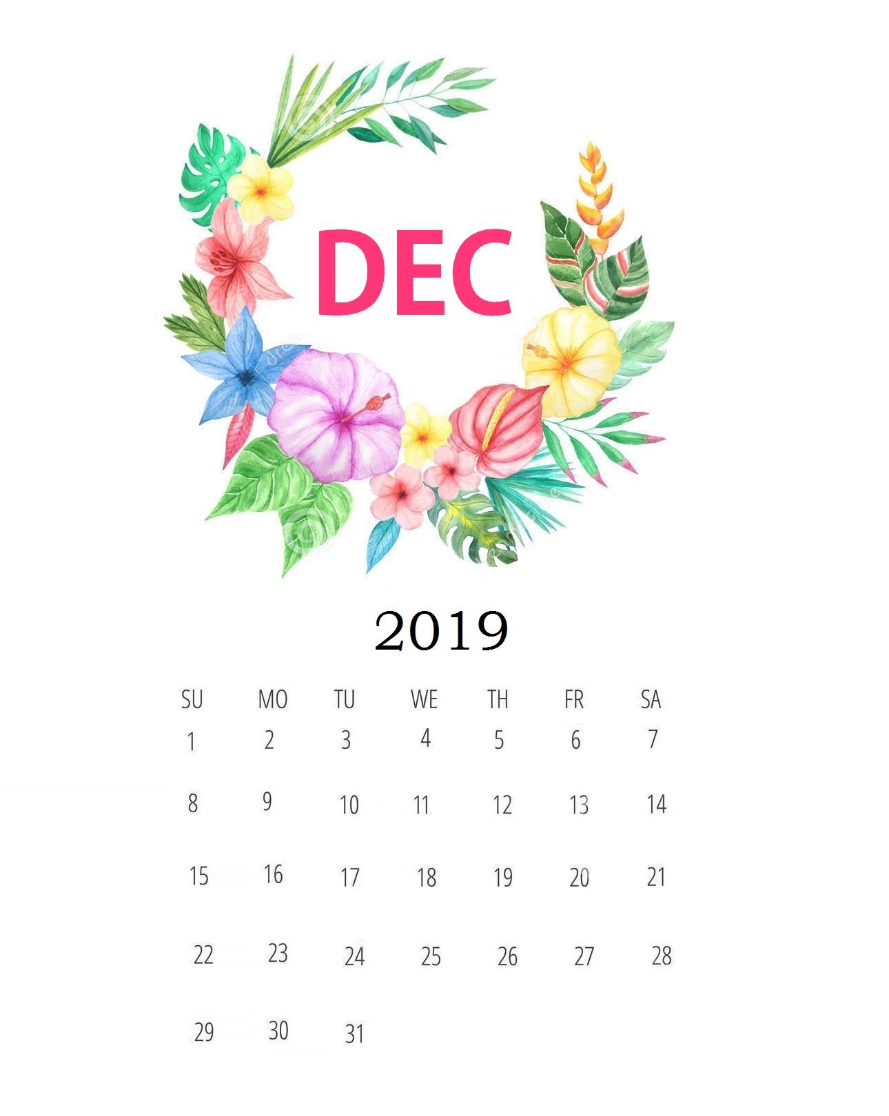 Floral December 2019 Monthly Planner