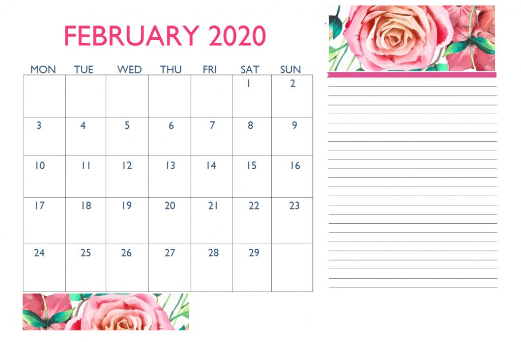 Floral February 2020 Desk Calendar