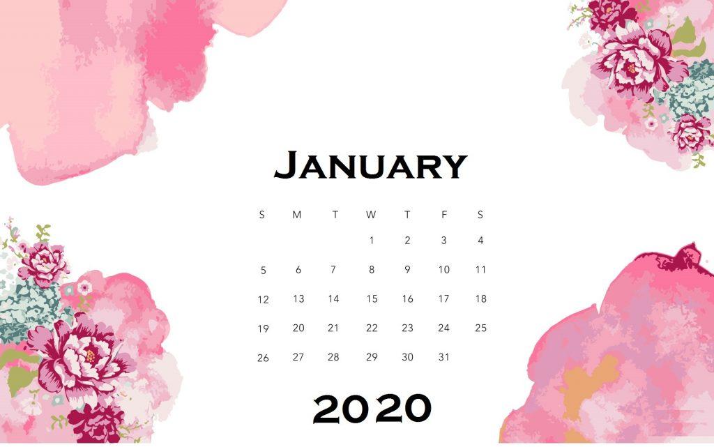 Floral January 2020 Desk Calendar