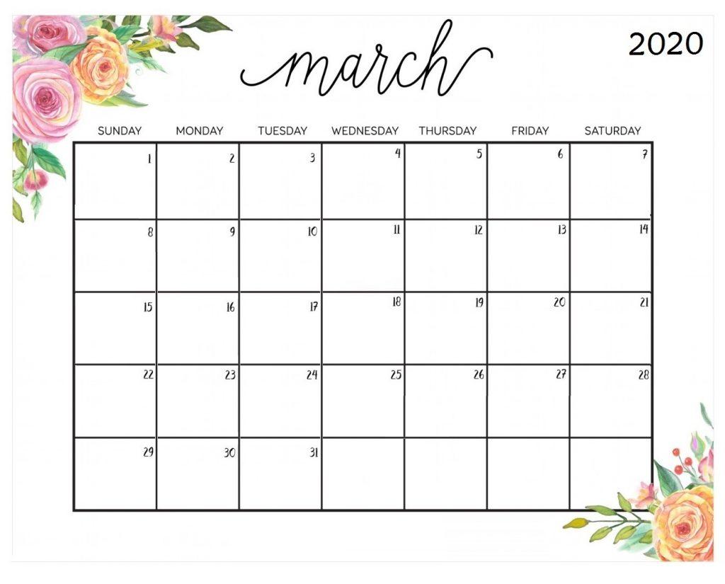 Floral March 2020 Calendar