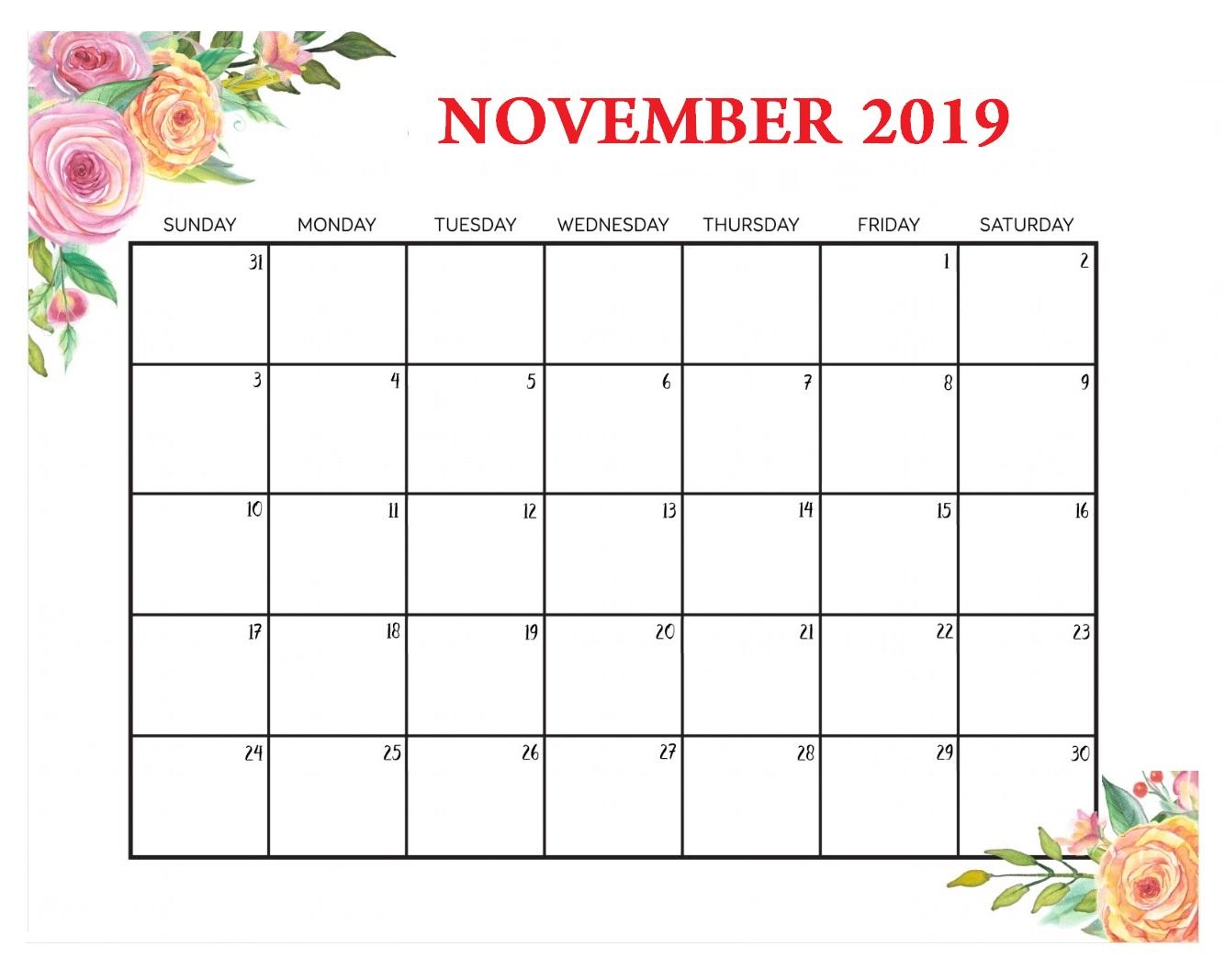 Floral November 2019 Desk Calendar