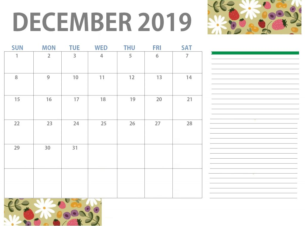 Free December 2019 Floral Calendar