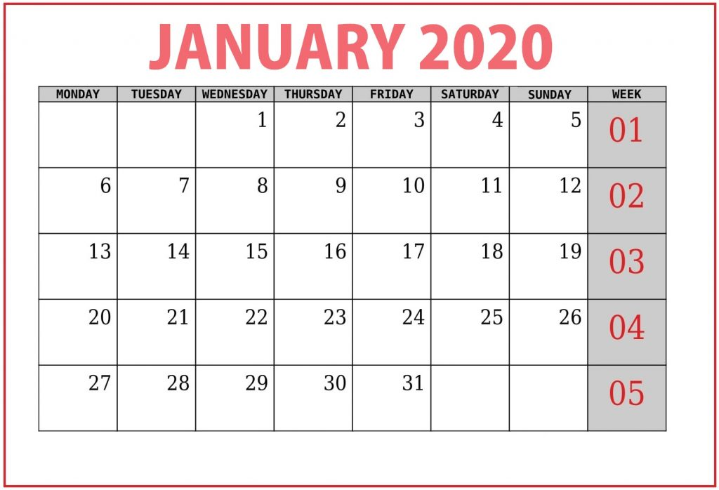 Free January 2020 Template