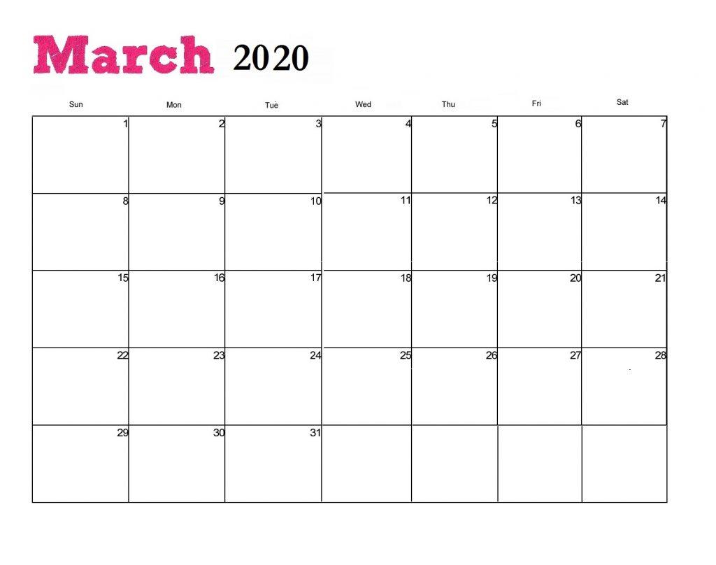 Free March 2020 Wall Calendar