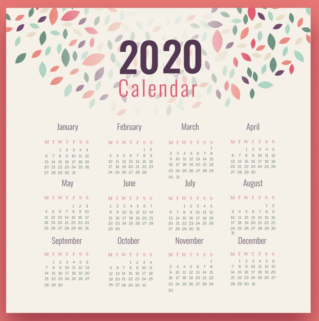 Free Yearly Calendar 2020