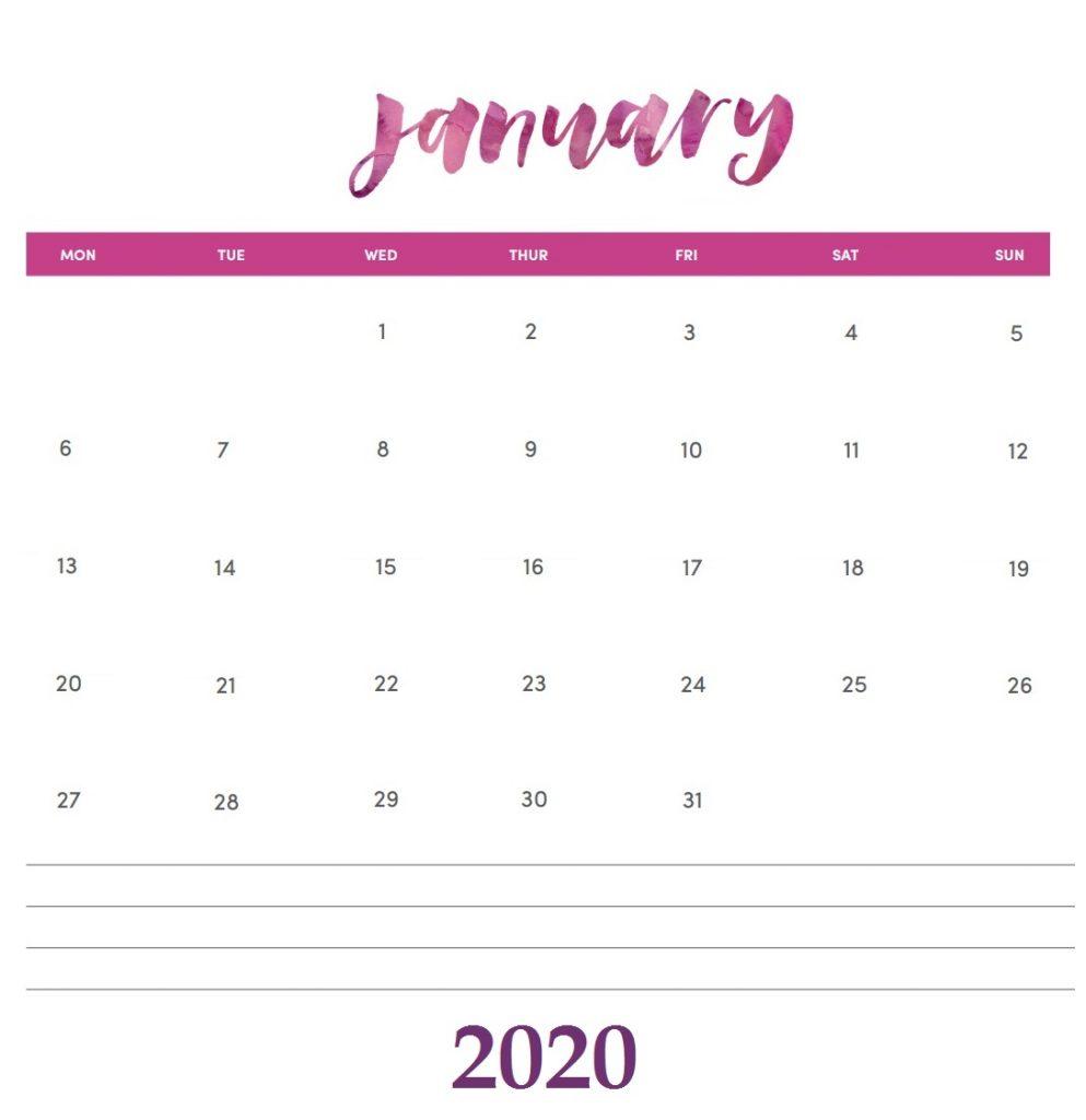 Hand Lettered January 2020 Calendar