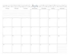 January 2020 Blank Calendar Template