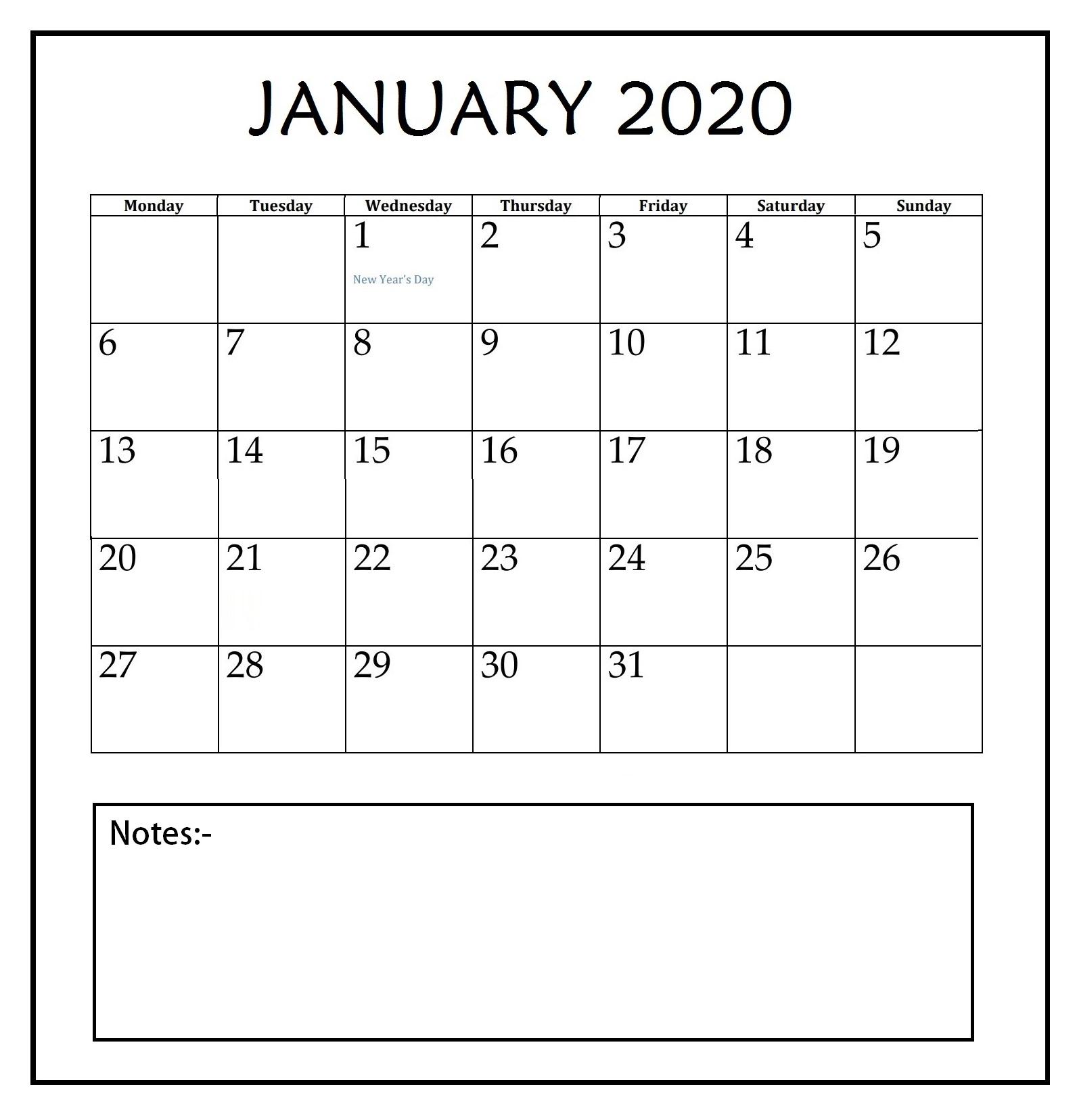 January 2020 Blank Template
