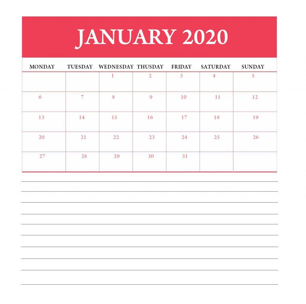 January 2020 Calendar For Office Table