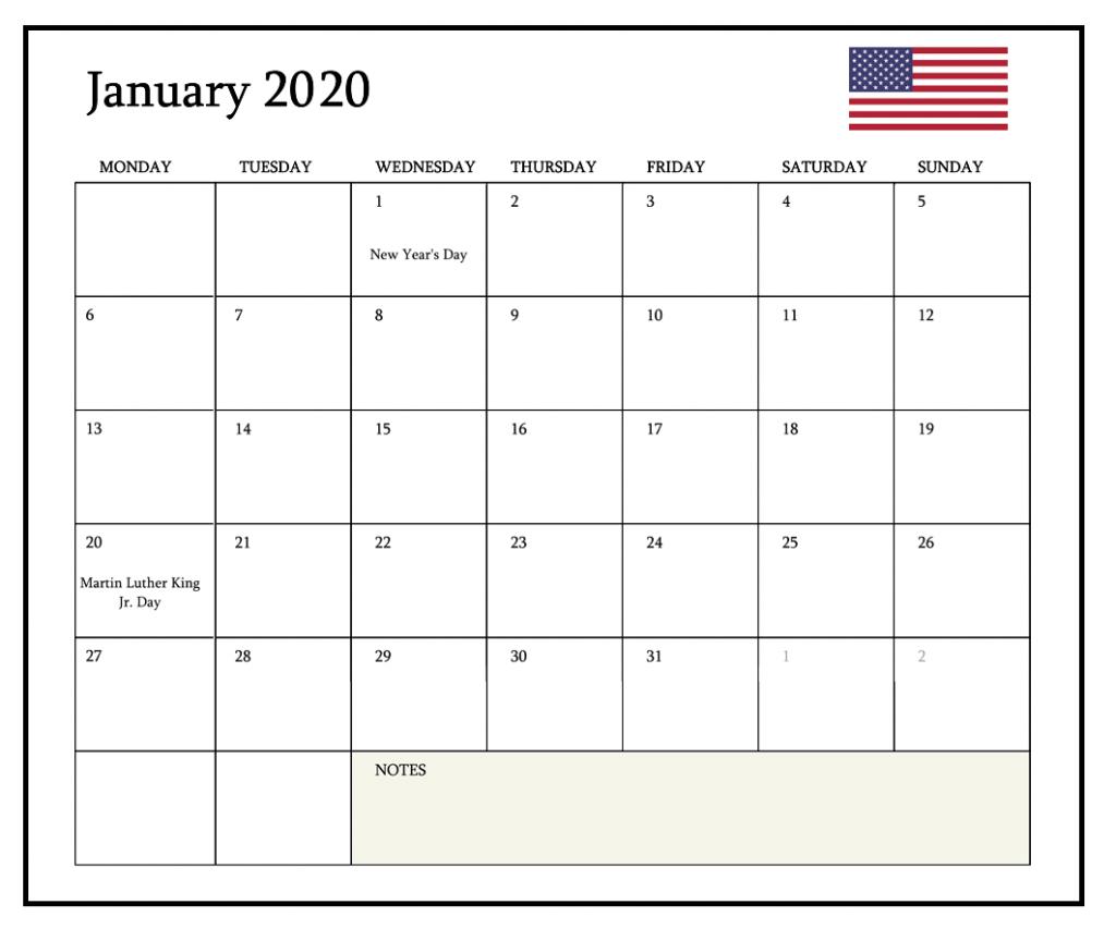 January 2020 Calendar USA